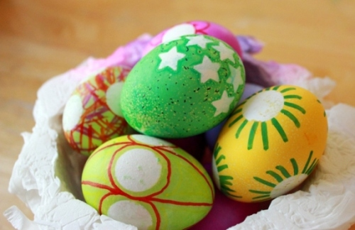 Easter Egg Decorating with Stickers